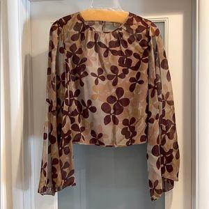 EUC MAXAZRIA Collection silk cold shoulder top